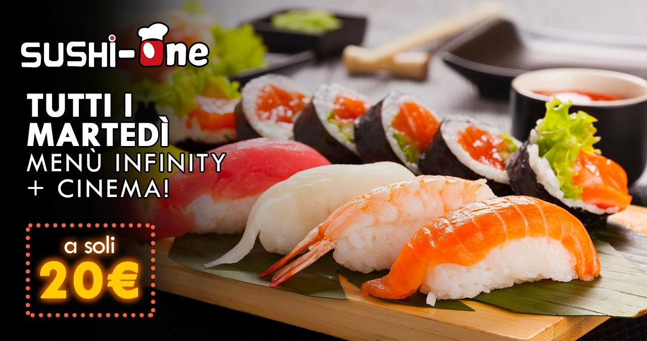 Sushi One - Tutti i martedì menù infinity + cinema a 20 €