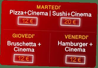 Le offerte Cena + Cinema di cinemaCity Ravenna